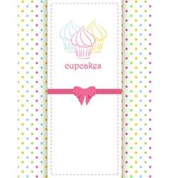 Cupcake polka dot background and panel vector