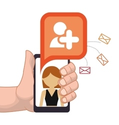 Hand holding smartphone add person friend contact vector