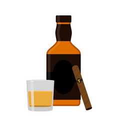 Glass of rum cigar whiskey premium alcohol tobacco vector