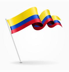 Colombian pin wavy flag vector
