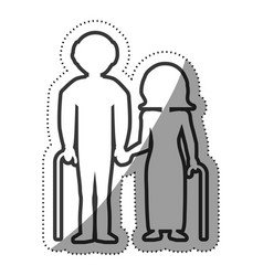 Elderly couple grandparents with cane outline vector