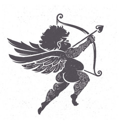 cupid silhouette with tattoos vector image