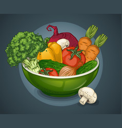 Organic vegetables plate template vector