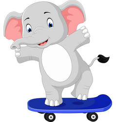 Cute elephant skateboard cartoon vector