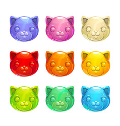 Cute jelly cat faces vector