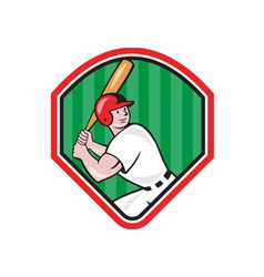 American baseball player bat diamond cartoon vector