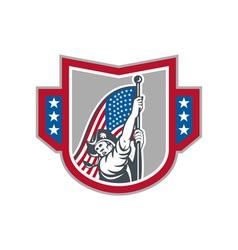 American patriot holding up stars stripes flag vector