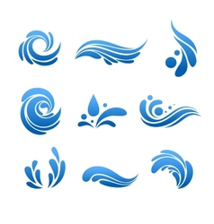Water drop and splash icon set vector image