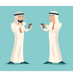 Arab businessman drink coffee tea chat mobile vector