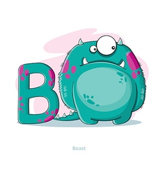 Cartoons alphabet - letter b with funny beast vector