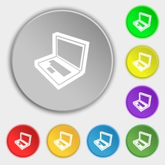 Laptop icon sign symbol on eight flat buttons vector