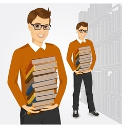 Young student holding stack of books vector