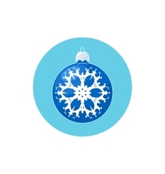 Icon blue ball with snowflake vector