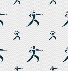Karate kick icon sign seamless pattern with vector