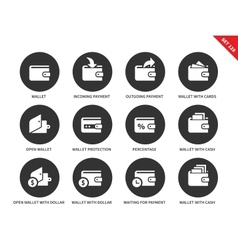 Wallet icons on white background vector