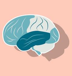 brain in sticker monochrome color on white vector image vector image