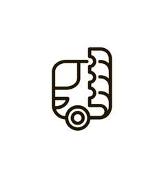 Bus and ticket logo vector