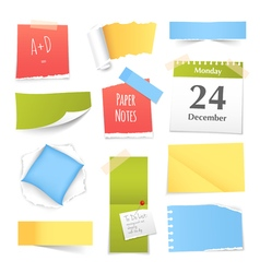 Colorful realistic paper notes collection vector
