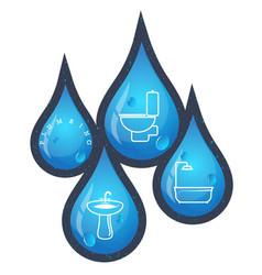 drops of water for plumbing repairs vector image