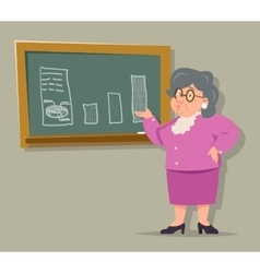 Education blackboard old female teacher granny vector