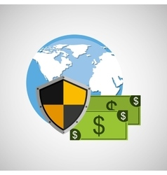 Globe banknote banking safe shield protection vector