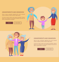 Grandparents and grandson little and grown up set vector