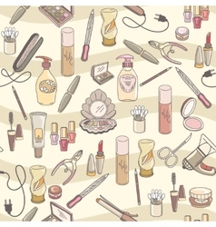 Hand drawn make up and cosmetics seamless vector image