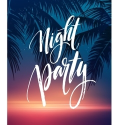 Hot summer night party poster design with vector