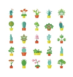 House plants flat icons set vector