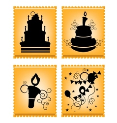 Icons of cakes on orange background vector image