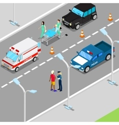 Isometric city car accident with ambulance vector