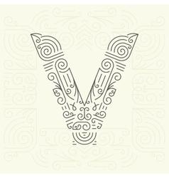 Letter V Golden Monogram Design element vector image vector image