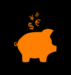 Piggy bank sign with the currencies orange icon vector