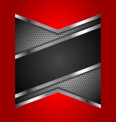red and black abstract tech metal design vector image vector image