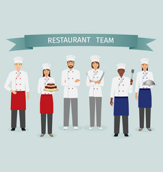 restaurant team concept group of characters vector image vector image