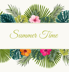 Summer time tropical design frame top bottom vector