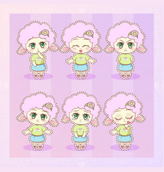 Sweet kitty little cute kawaii anime cartoon lamb vector