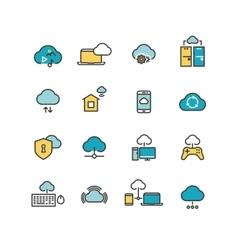 Syncing computer cloud computing network big vector image vector image