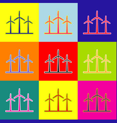 Wind turbines sign pop-art style colorful vector