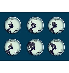 Zodiac signs in a circle frames set vector