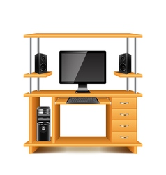 Desk with computer and loudspeakers isolated on vector