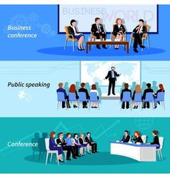 Conference public speaking 3 flat banners vector