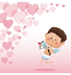 Cupid valentine day shooting bow hearts background vector