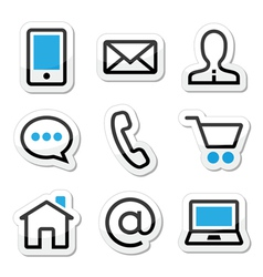Contact web stroke icons set vector