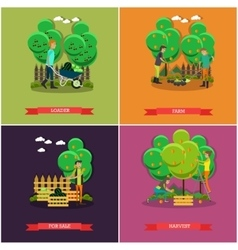 Set of gardening farming concept posters vector