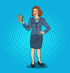 Pop art happy business woman with stack of money vector