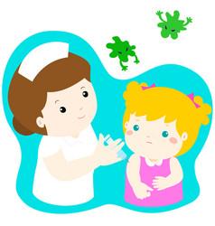 Vaccination girl cartoon vector