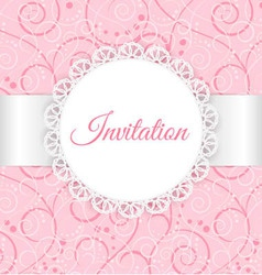 Lace frame with silver ribbon on swirl background vector