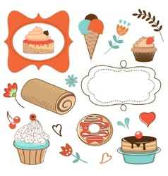 Desserts collecton vector