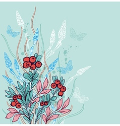 Green decorative floral background with berries vector image